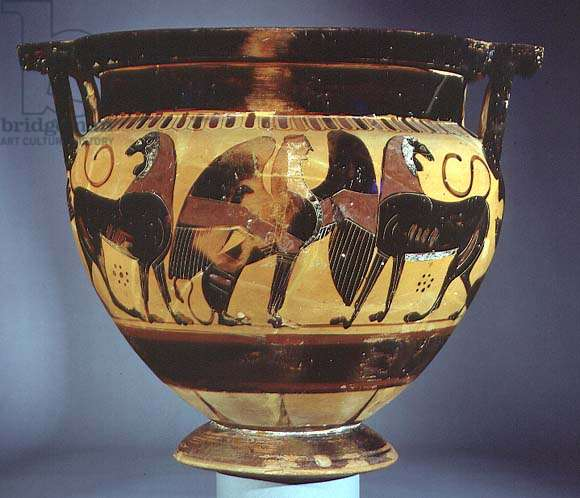 Attic black-figure column krater depicting lions and a sphinx (pottery)