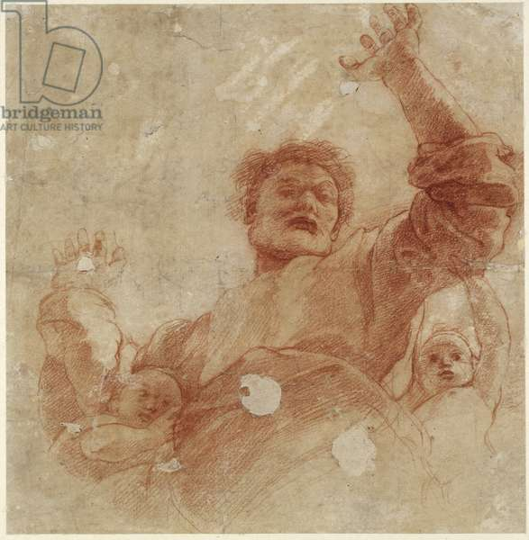 Recto: Study for a Figure of the Almighty, WA1846.207 (red chalk over blind stylus)