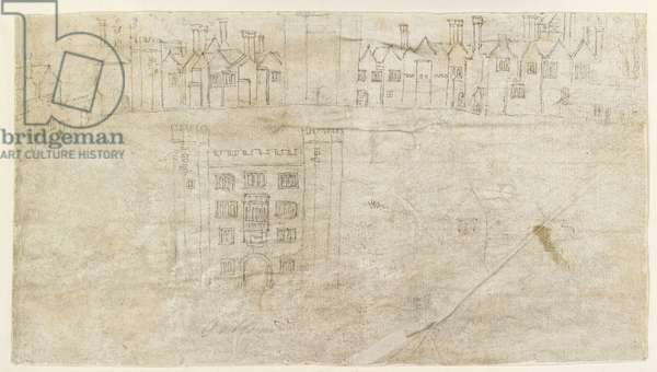 Recto: Buildings along the South front of Oatlands Palace (pen and brown ink over faint indications in black chalk)