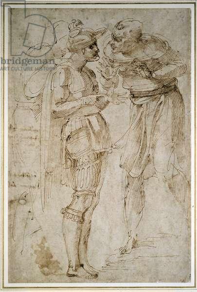 Three Men in Conversation (pen & brown ink on paper)