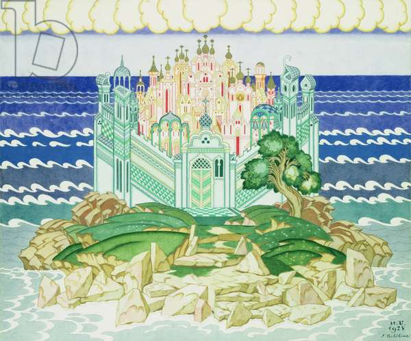 Design for the decor of the 1928 production of Rimsky-Korsakov's opera 'Grad Kitezh' in Paris, 1928 (w/c on paper)