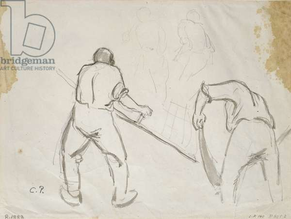 Three studies of a male harvester (grey wash over pencil on paper)