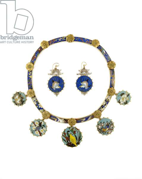 Necklace and Earings (gold & enamel)
