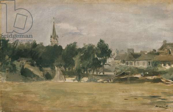 Landscape with a Village Church, 19th century (oil on canvas)
