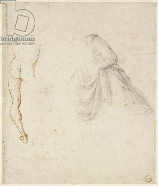 Recto: Back view of a standing man, after Signorelli; the drapery of a kneeling figure, WA1846.145 (pen & brown ink with grey-black chalk on white paper)
