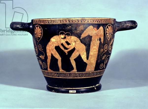 Attic red-figured kotyle decorated with two wrestlers, from at Chiusi (ceramic)