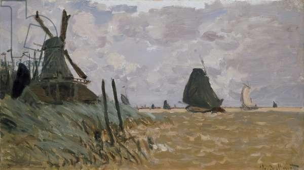 A Windmill near Zaandam, 19th century (oil on canvas)