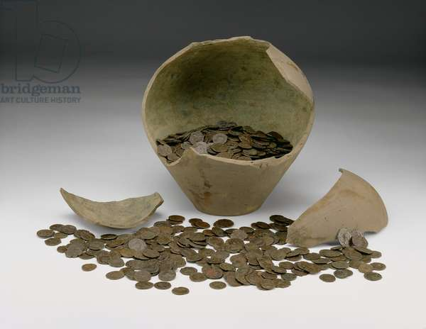 Complete local Roman Imperial coin hoard with jar, the Chalgrove II Hoard, from Chalgrove, Oxfordshire (ceramic & metal)