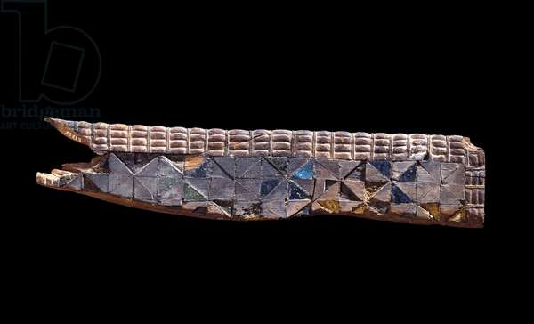 Fragment of furniture carved from softwood, c.2800 BC (softwood inlaid with faience & coloured wood bedded in plaster)