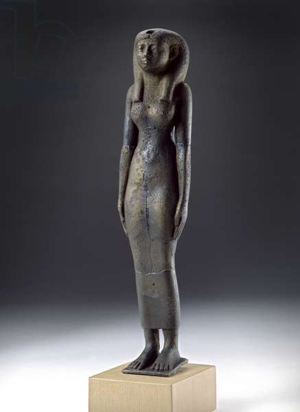 Figure of the goddess Isis, Napatan Period, c.900-300 BC (hollow-cast bronze, wooden base)