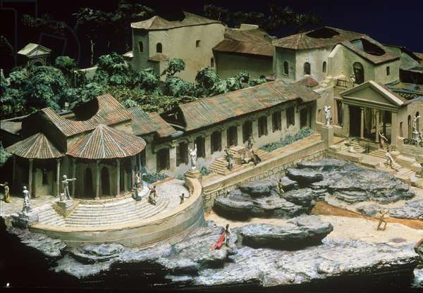 Model based on Pliny the Younger's description of his suburban seaside villa at Laurentum near Rome, by Clifford Pember, 20th century (mixed media)