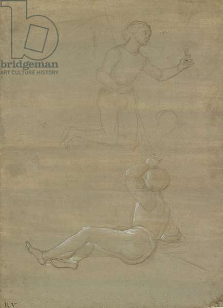 Studies for a guard in a Resurrection and of an angel, WA1846.150 (metalpoint on brownish-grey prepared paper with white heightening)