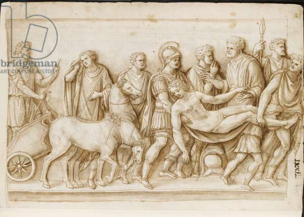 Verso: the Return of Meleager, from a Roman sarcophagus, Rome, Palazzo Barberini, c.1512-17 (pen & brown ink with brown wash)
