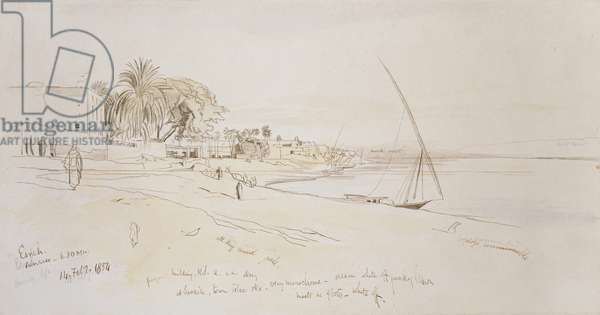 Esneh, Egypt, 1854 (pen and brown ink with watercolour over graphite on off-white paper)
