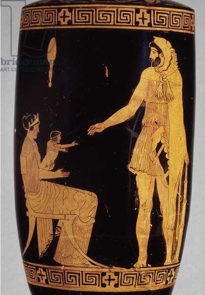 Attic red-figure lekythos depicting Herakles (ceramic) (detail of 100581)