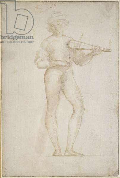Two Studies (bisected) of a young Man making Music, WA1846.155 (metalpoint, heightened with heghteining, on a pale stone-grey prepared paper)