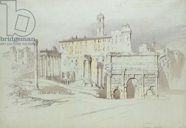 A Window of the Palazzo Tolomei, Siena, showing the rude and unsymmetrical Placing of massy Stones, 25 - 27 June 1870 (watercolour and bodycolour over graphite on blue wove paper)