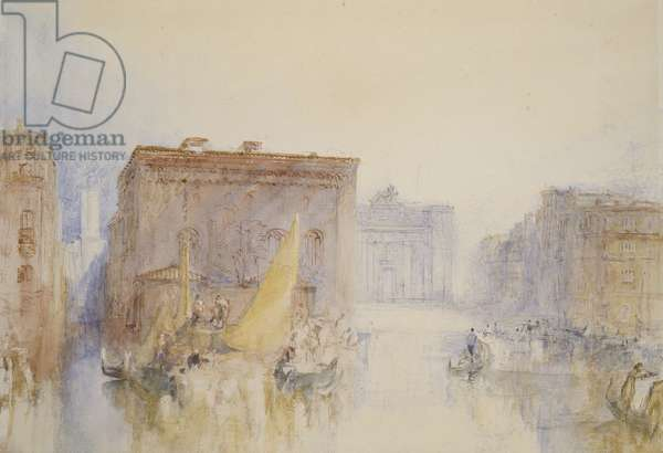 Venice: The Accademia, 1840 (w/c over graphite with pen & reddish-brown ink)