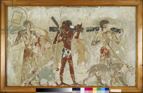 Copy of wall painting, private tomb 100 of Rekhmire, Thebes, Negroes with tribute, ape and panther (paint)