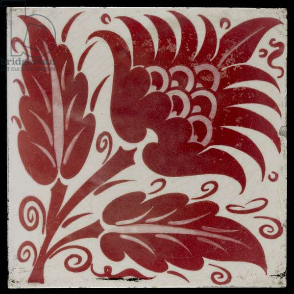 Tile with Stylised Flower with Two Leaves and Tendrils, 1882-88 (red and white lustreware)