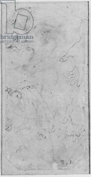 Verso: Sketches of two male Heads and a pair of Hands, WA1846.167 (pen & brown ink on white paper)