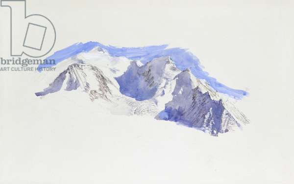 Mont Blanc from Saint-Martin-sur-Arve, October 1874 (watercolour and bodycolour over graphite on wove paper)