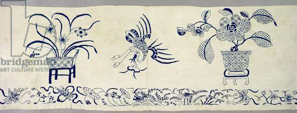 Domestic blue thread embroidery, c.1940 (silk thread and cotton)