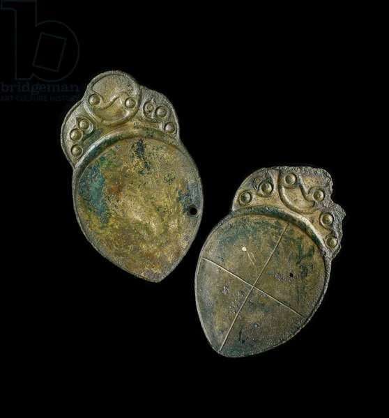 Pair of spoons with cast decoration, from a site at Penbryn, Ceredigion, Wales, Iron Age (cast iron)