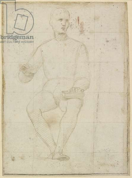 Recto: Study of a seated Man, WA1846.174 (silverpoint on light greyish preparation, touched with red chalk)