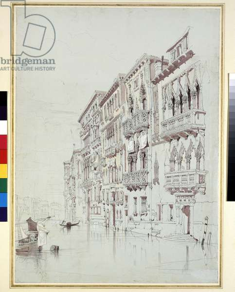The Palazzo Contarini-Fasan, Venice, 6 - 16 May 1841 (graphite, watercolour and bodycolour, with some scratching out, on grey paper)