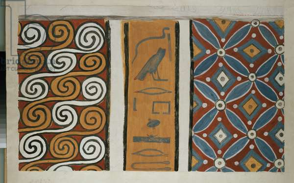 Copy of wall painting from private tomb 82 of Amenemhet, Thebes (I, 1, 163-167) six ceiling patterns (tempera)