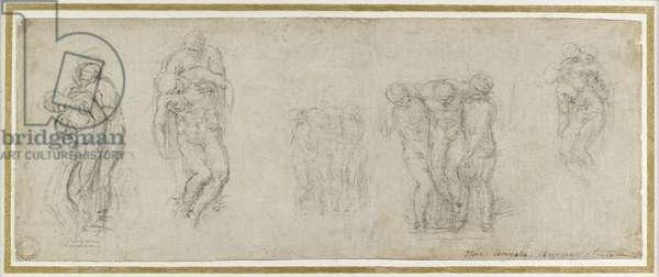 Studies for the Pieta Rondanini, c.1552 (chalk on paper)