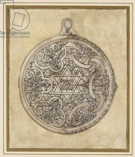 Design for a circular pendant, 16th century (pencil on paper)