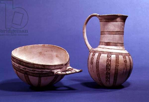Bowl and jug, Cyprus, late Bronze Age (decorated pottery)
