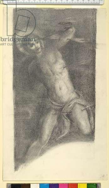 """Study of Tintoretto's """"Saint Sebastian"""" in the Scuola Grande di San Rocco, 1859 or 1862 (black chalk and graphite on wove paper)"""