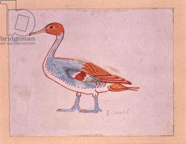 Bird, copy of an Egyptian tomb painting, 20th century (egg tempera on panel)