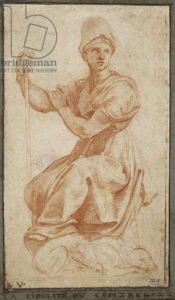 Allegorical Female Figure (red chalk on paper)