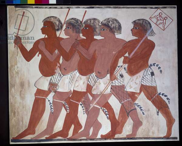 Copy of wall painting depicting a troop of soldiers