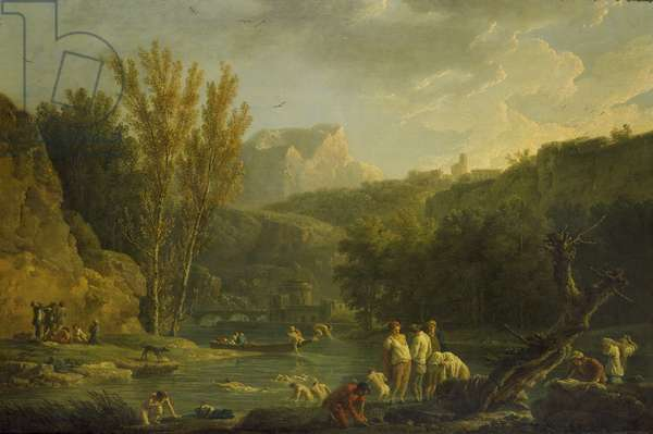 River Scene with Bathers, 18th century (oil on canvas)