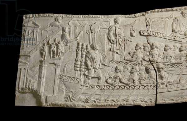 Cast of Trajan and fleet leaving Ancona, one of a set of reliefs from Trajan's column (A150-151), Rome, original dated 113 AD (plaster)