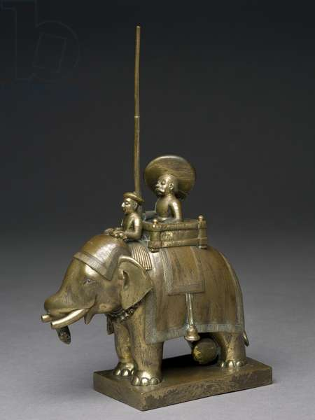 An officer riding an elephant, 1795 (brass)