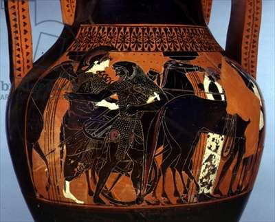 Black-figure amphora decorated with a scene of Heracles assisting Athena, detail, 6th-5th century BC (ceramic)
