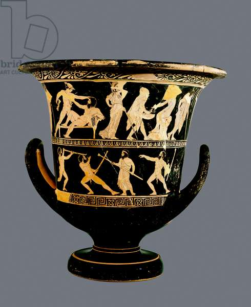 Attic red-figure calyx-krater depicting (above) the Deeds of Theseus and (below) the satyrs Sikinnis, Komos and Simos light torches from coals Prometheus carries in a fennel stalk, c.420 BC (pottery)