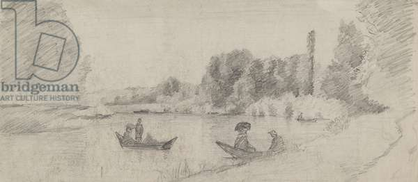 Study of a river landscape with boats, 1863 - 1864 (graphite on paper)