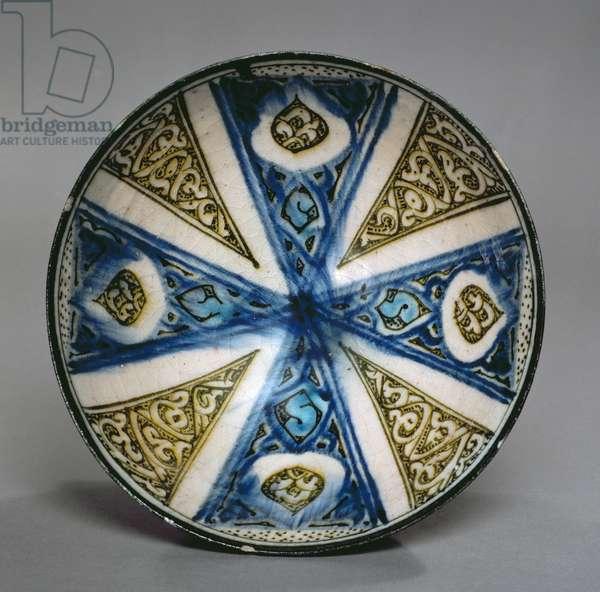 Dish, from Kashan, Iran, Seljuk period, late 13th century (stone-paste with polychrome under glaze)