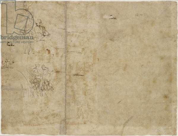 Verso: Two Sketches of Figures, compositional sketch for the Chigi Chapel, Santa Maria della Pace, WA1846.194 (pen & brown ink)