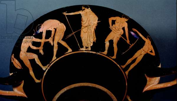 Attic red-figure kylix depicting athletes training (pottery) (see also 103375)