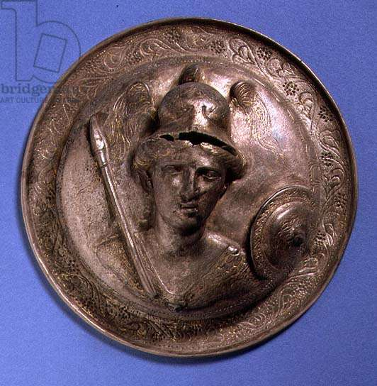 Antique medallion bearing the head of Athena (bronze)