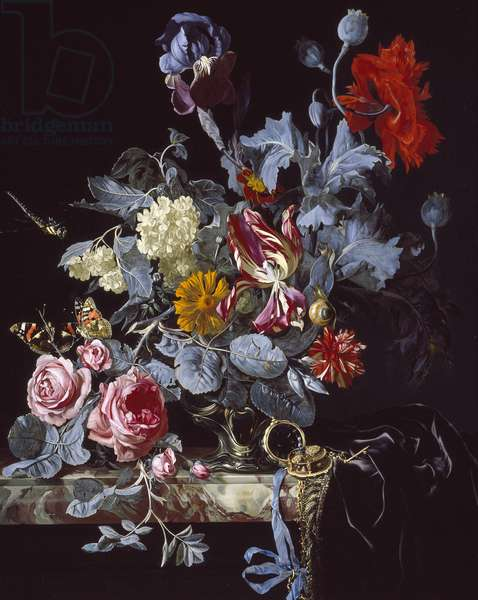 A Vase of Flowers with a Watch (oil on canvas)