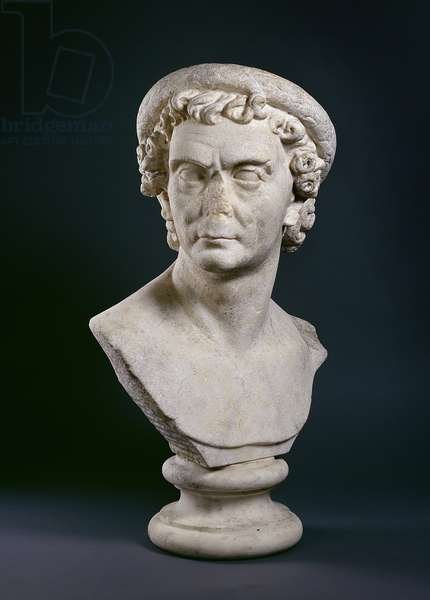 Roman marble bust of man wearing a wreath of olive leaves, c.100 AD (marble)
